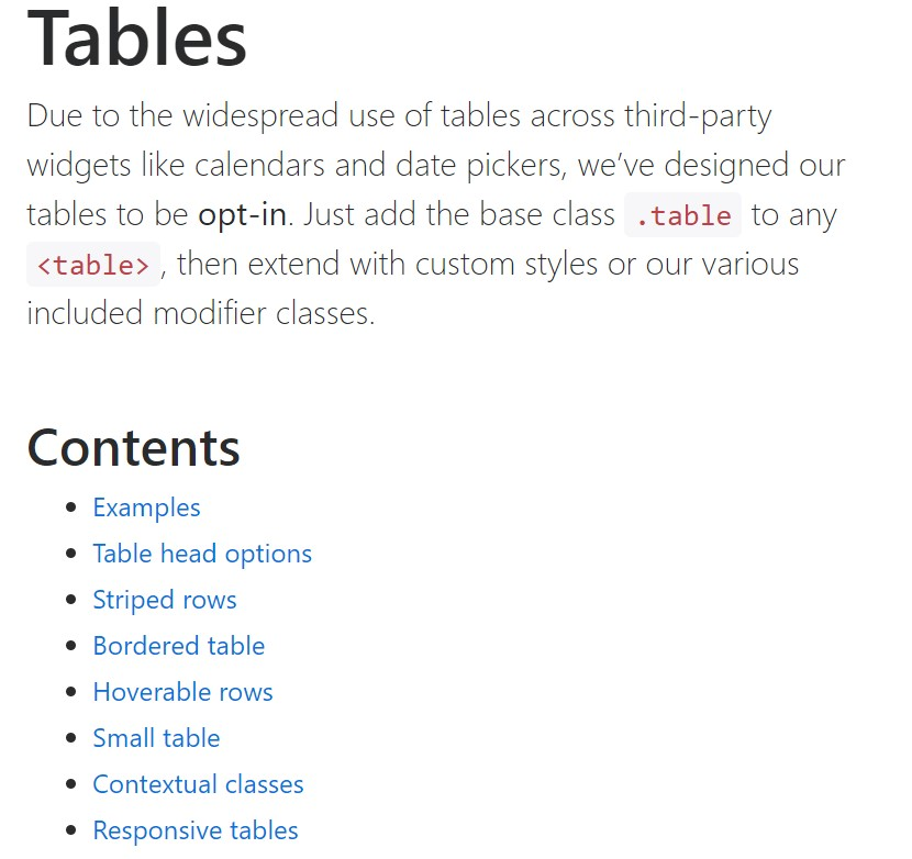 Bootstrap tables  authoritative documentation