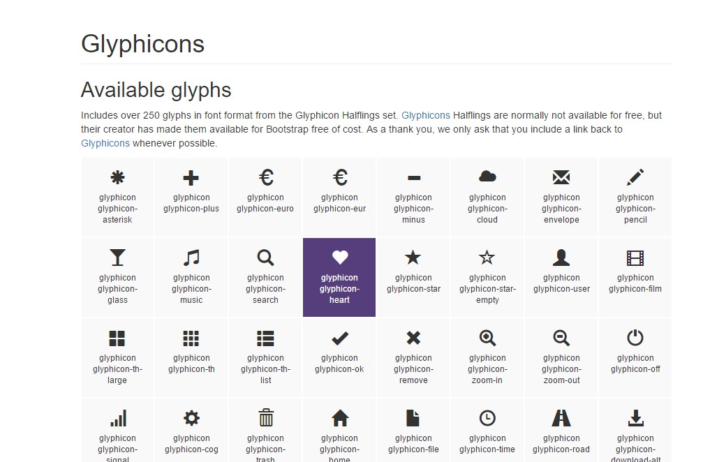 bootstrap glyphicons set
