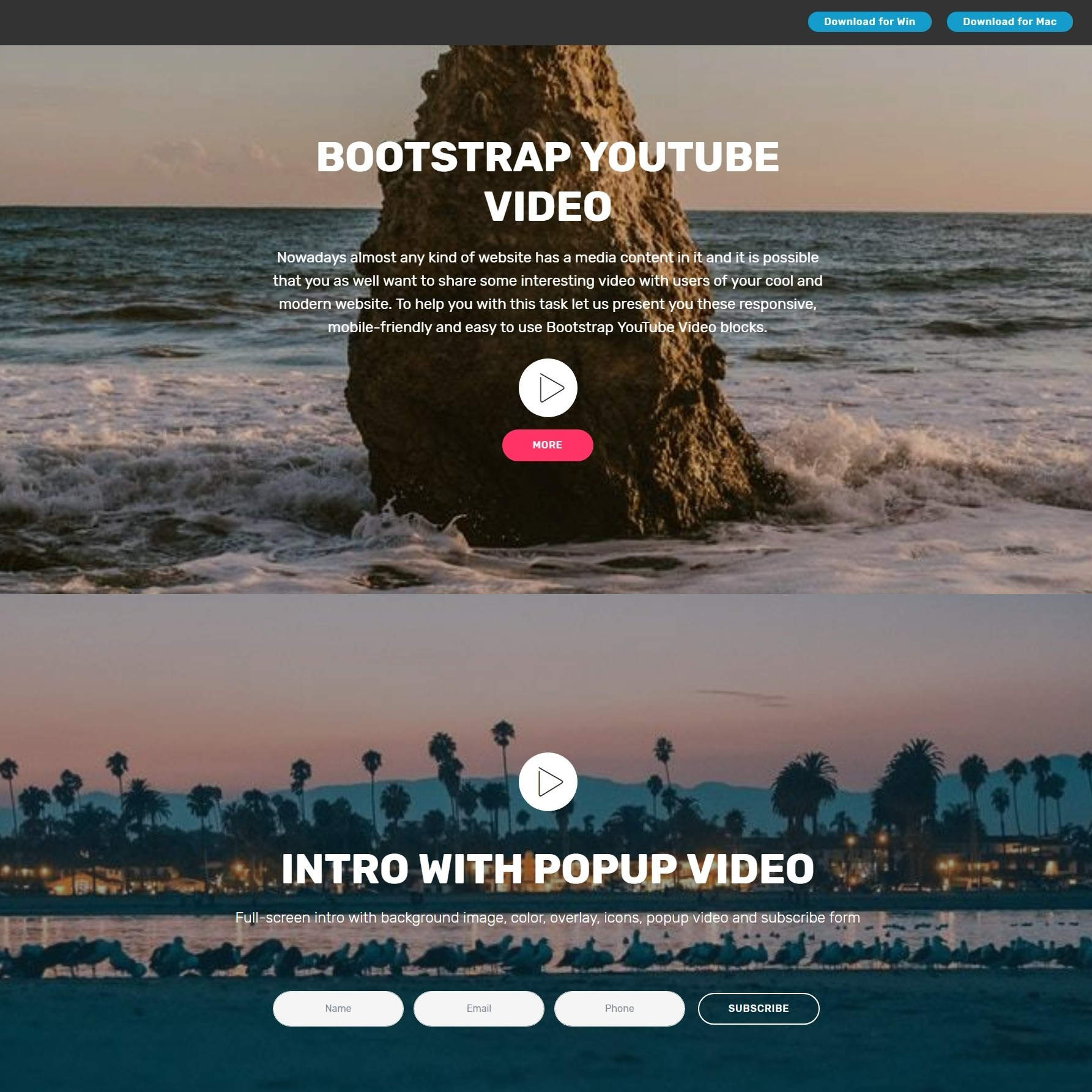Magical CSS3 Bootstrap Carousel Video Players and Accordion