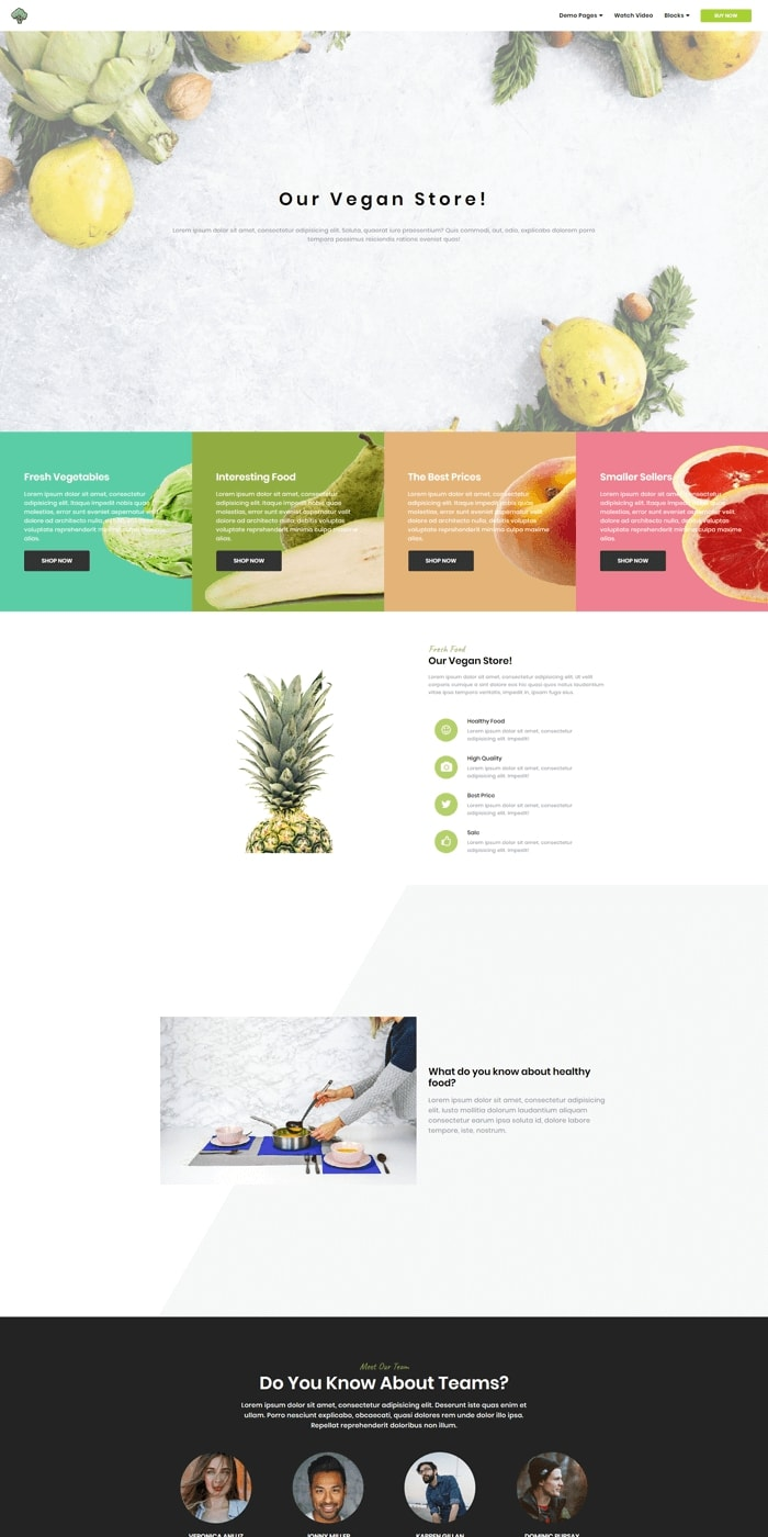 Grocery Store Simple Website Template