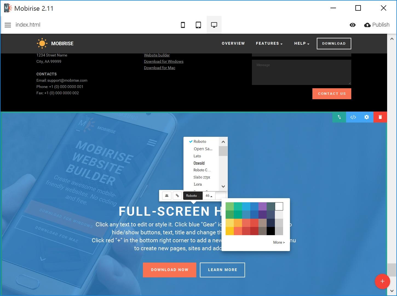 WYSIWYG Simple Website Builder Software