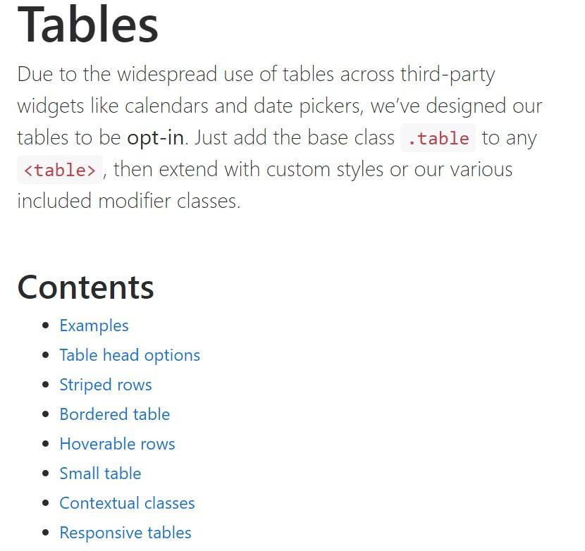 Bootstrap tables  authoritative documentation
