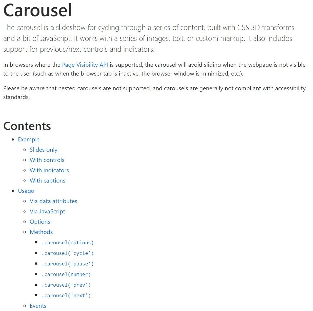 Bootstrap carousel  authoritative  information
