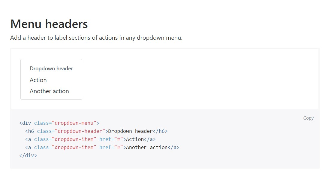 Bootstrap Header:  main  information