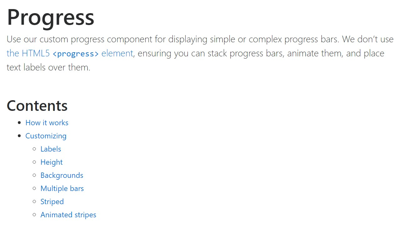 Bootstrap progress bar  approved documentation