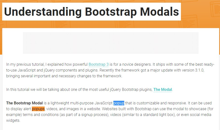 An additional useful  information  concerning Bootstrap Modal Popup